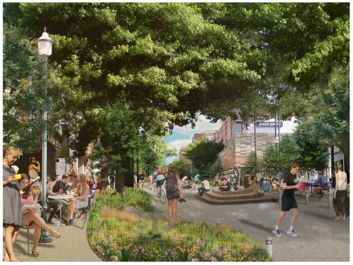 Artist's sketch of a pedestrianized University Way NE. (U District Mobility Group)