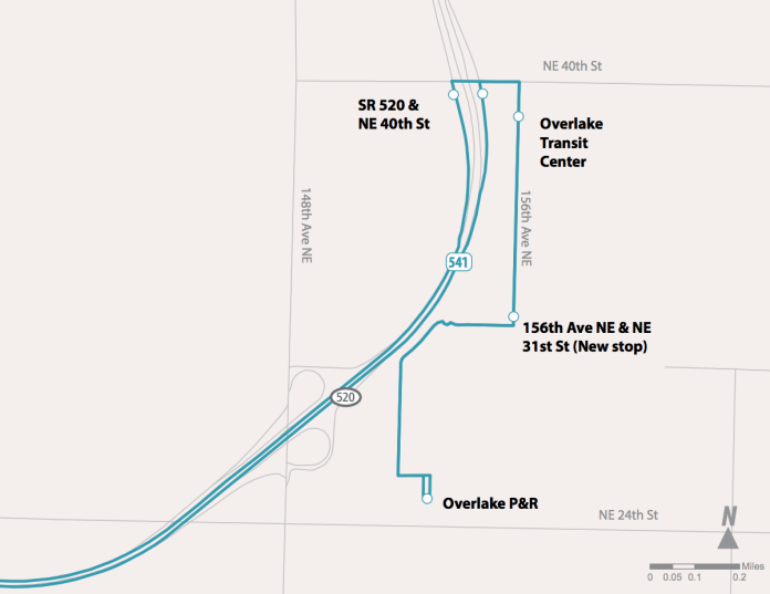 Proposed changes to Route 541. (Sound Transit)