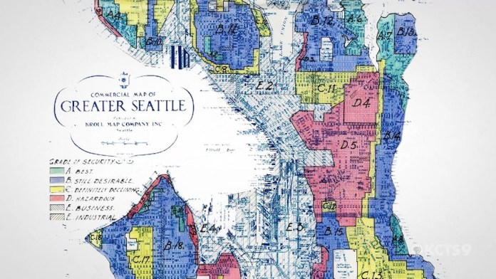 """A redlining map of Seattle shows the Central District and Delridge indicated in red for """"hazardous."""""""