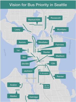 Move All Seattle Sustainably (MASS) proposes quickly rolling out bus lanes (as suggested above) to ease transit gridlock caused by the Seattle Squeeze. (MASS)