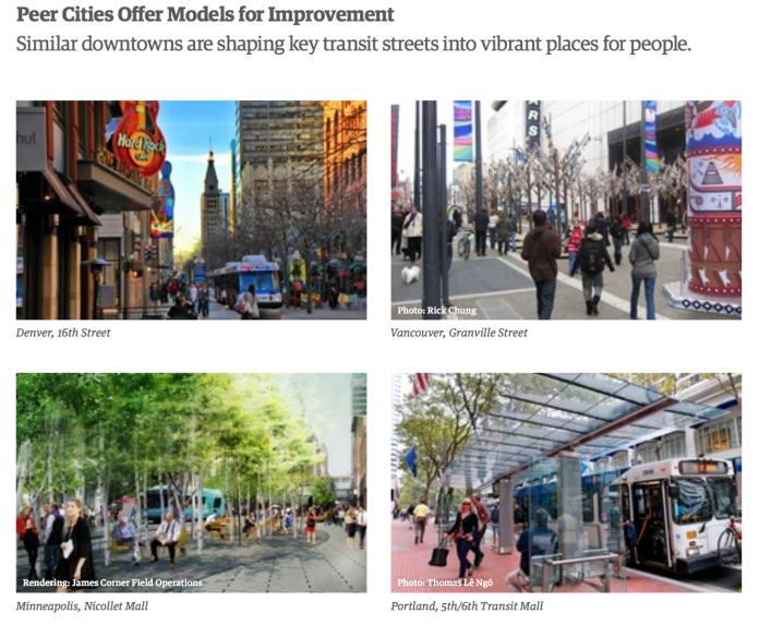 Examples of vibrant transit corridors in peer cities. (DSA)