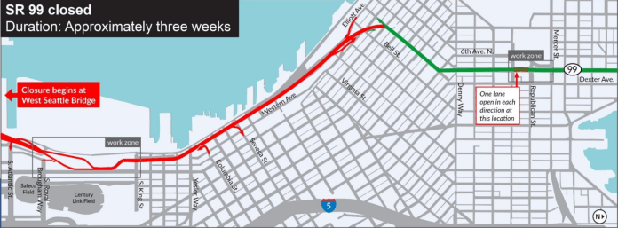 SR-99 will close between the West Seattle Bridge and Battery Street; the Battery Street Tunnel will remain open. (WSDOT)