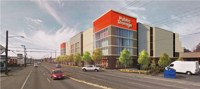 Under Commercial 1 and Commercial 2 zoning, giant self-storage proposals are compliant on Aurora. This project provides no retail and no housing, but would be required to construct hundreds of housing units atop limited commercial sizes at the base under MHA's zoning plan. (City of Seattle)