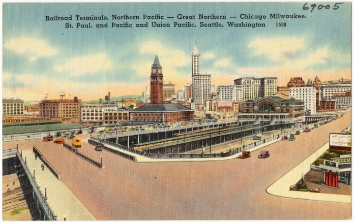 Railroad_terminals_Northern_Pacific_--_Great_Northern_--_Chicago_Milwaukee,_St._Paul,_and_Pacific_and_Union_Pacific,_Seattle,_Washington_(69005)