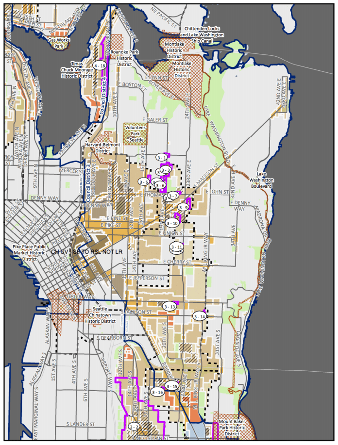 Council District 3 MHA rezone map with amendment proposals. (City of Seattle)