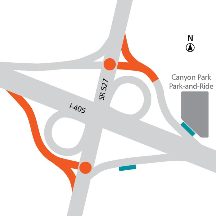 Orange: roadway modifications. Teal: BRT stops. Orange dots: transit signal priority. (Sound Transit)