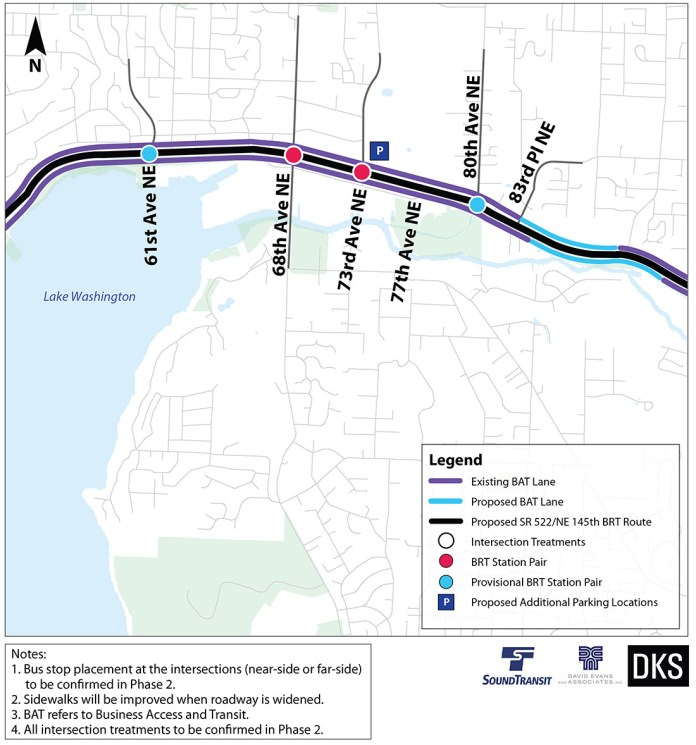 Preliminary corridor improvements and BRT treatments for Kenmore. (Sound Transit)