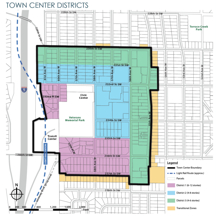 Draft zoning for the town center. (City of Mountlake Terrace)
