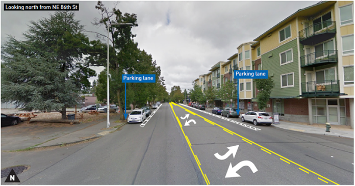 Planned redesigned of 35th Ave NE at NE 86th St without bike lanes. (City of Seattle)