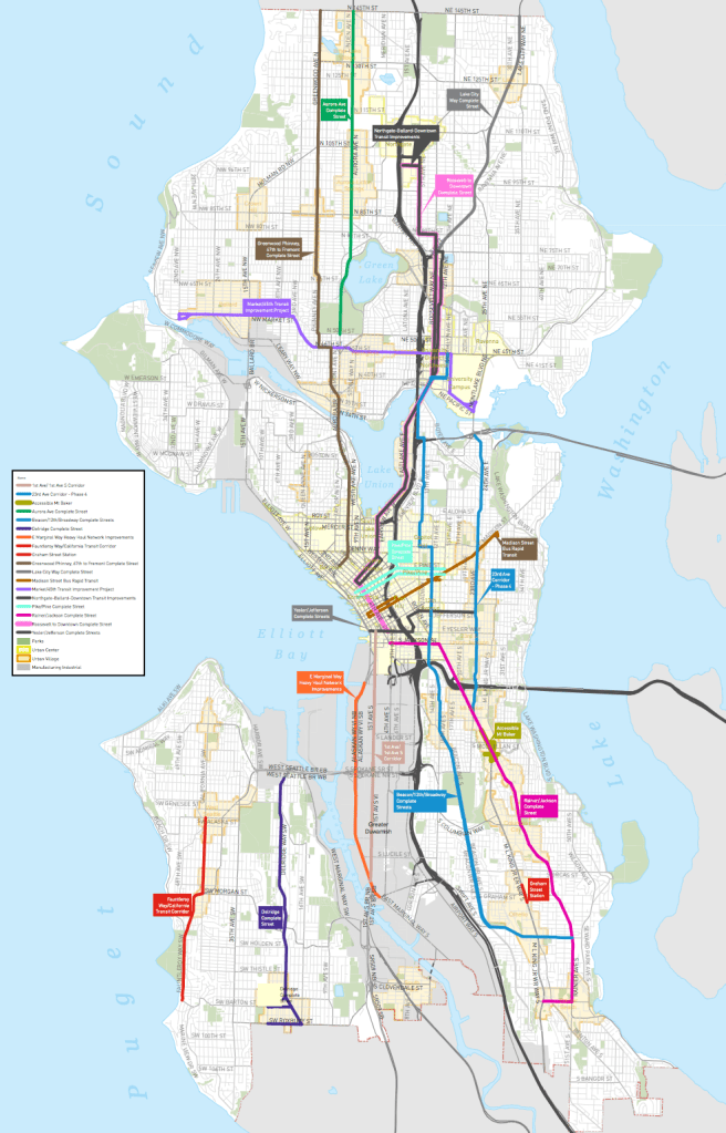 Identified corridor projects that would be eligible for transportation impact fee revenue. (City of Seattle)