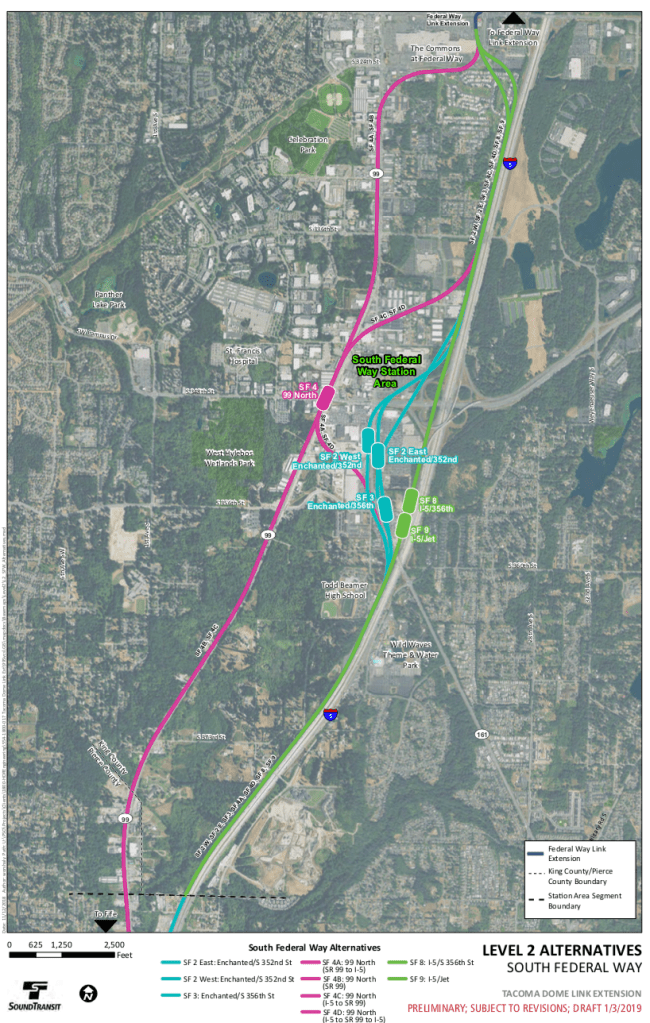Level 2 Alternatives map of the South Federal Way segment. (Sound Transit)