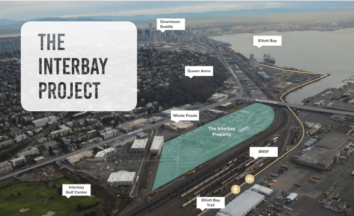 The Armory site composes 25 acres between the BNSF railyard and the Interbay Whole Foods. (State of Washington)