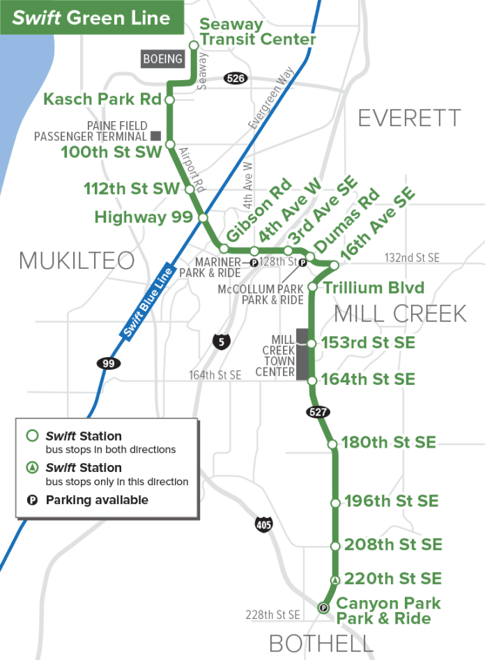 New Swift Green Line alignment and stops. (Community Transit)