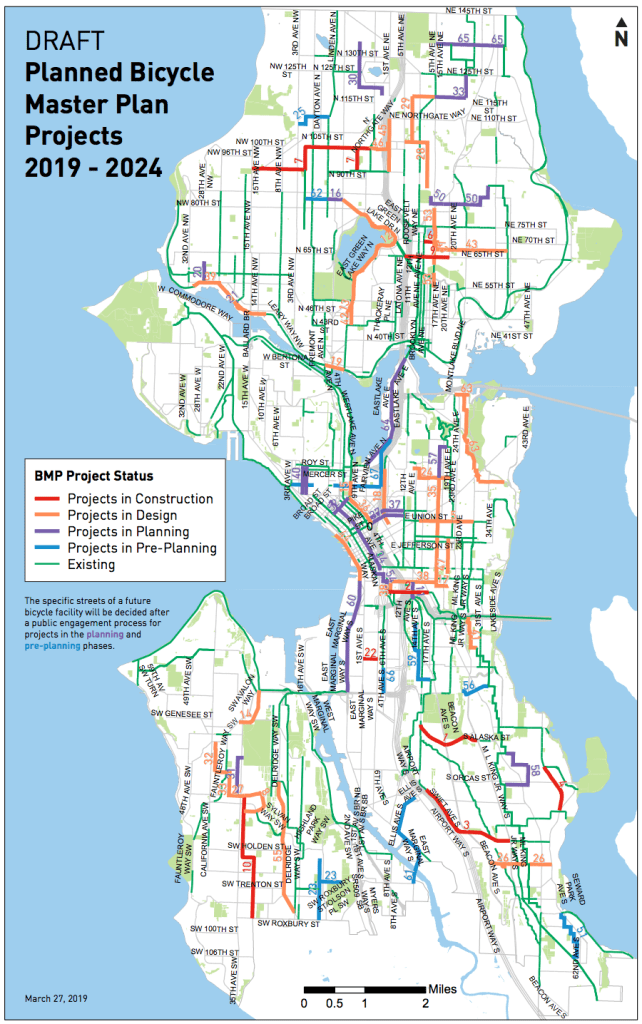 SDOT's draft BMP implementation plan overview from 2019 to 2024. (City of Seattle)
