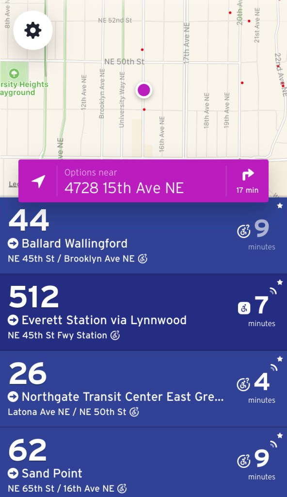 "In ""nearby"" mode, routes close by are shown, including whether next trips have live trip data or not. (Transit App)"