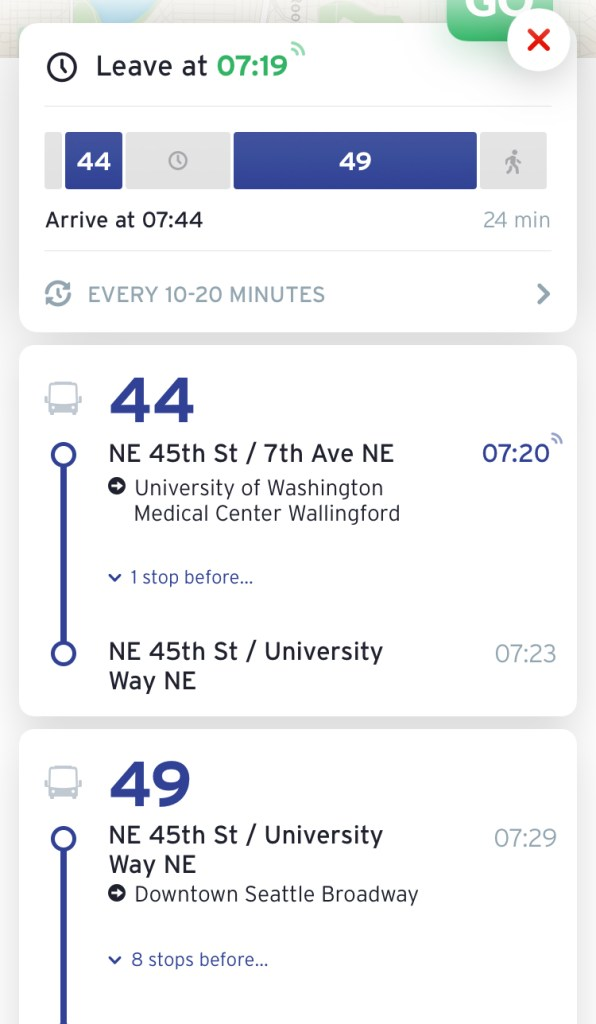 A partially live trip pair from the trip planning function. (Transit App)