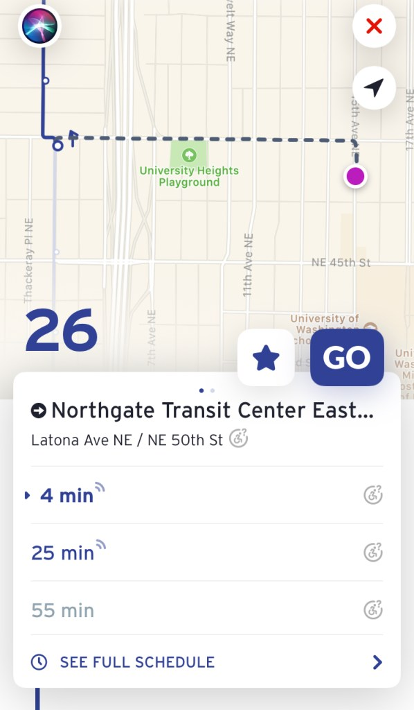 Next trips for Route 26, some with live trip data. (Transit App)