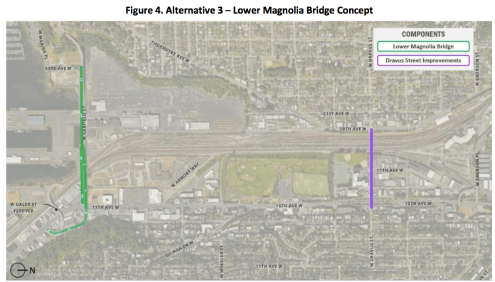 Alternative 3 would only reconstruct the Magnolia Bridge's lower portion to access industrial areas. (City of Seattle)