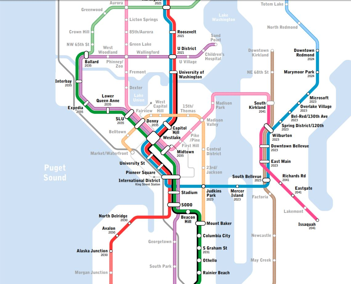 Us Highway As A Subway Map.Latest Seattle Subway Vision Map Refines The Metro 8 Line Adds
