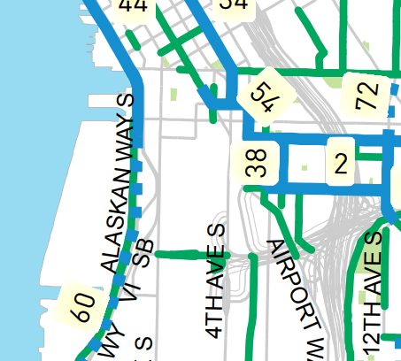Proposed implementation plan south of downtown. (City of Seattle)