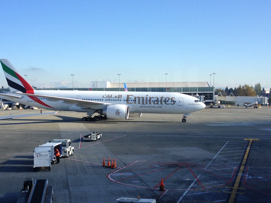 Emirates plane taxiing at Sea-Tac International Airport.