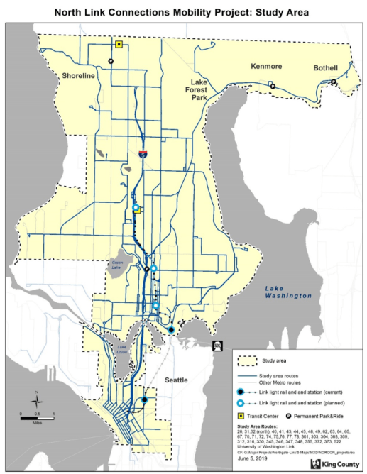 The study area and possible routes affected by the bus-to-Link restructure effort. (King County)