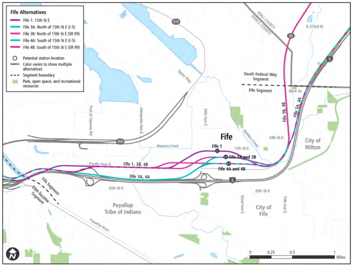 Alternatives for the Fife segment. (Sound Transit)