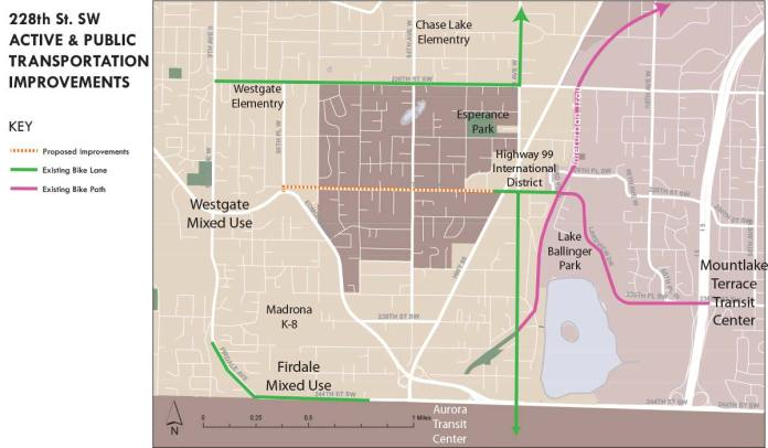 The orange line indicates the one-mile bike and pedestrian improvements Edmonds proposed along 228th St SW. (Sound Transit / Mountlake Terrace)