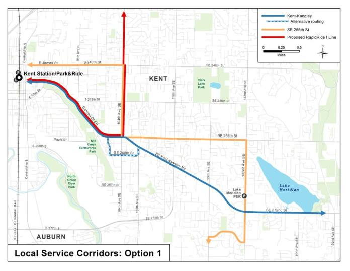 Option 1 for corridor service options in East Hill and Lake Meridian. (King County)