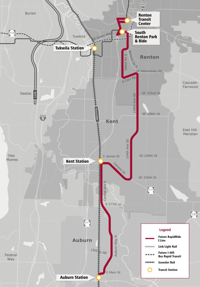Planned corridor for the RapidRide I Line. (King County)