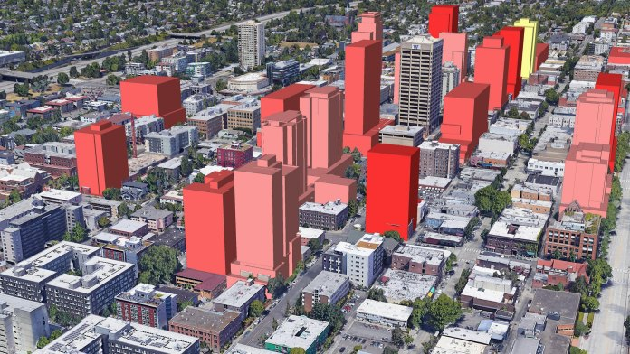 A smattering of tall red boxes show the envelopes for future highrises being planned.