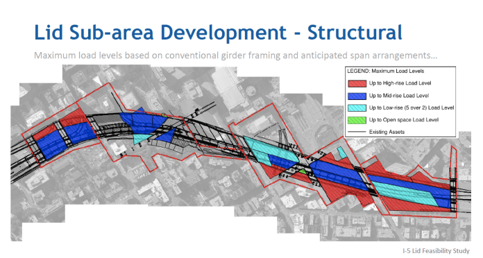 As the map above illustrates, the preliminary data suggests that the lid's edges would be most appropriate for highrise development, while much of the remainder of the lid could carry either mid-rise or low-rise development. (Credit: WSP)