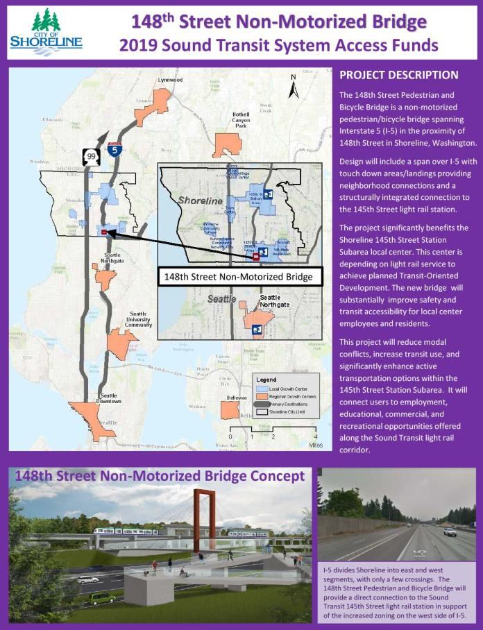Planned NE 148th St pedestrian and bike bridge in Shoreline. (City of Shoreline)