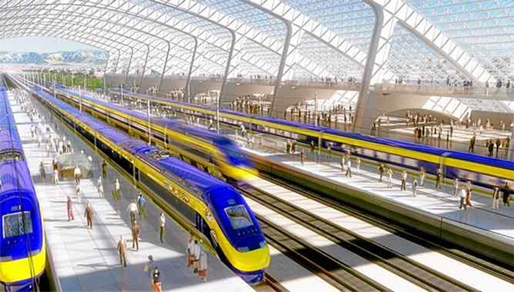 California's bullet train station in San Francisco should look something like this. (Rendering by Paul Wallis / California High Speed Rail Authority)