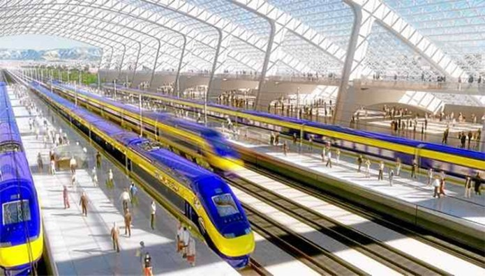A rendering of California high speed rail station. (Credit: Paula Wallis / California High Speed Rail Authority)