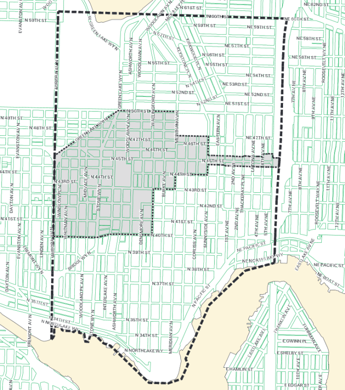 Wallingford Urban Village (shaded) and catchment boundary (dashed line).