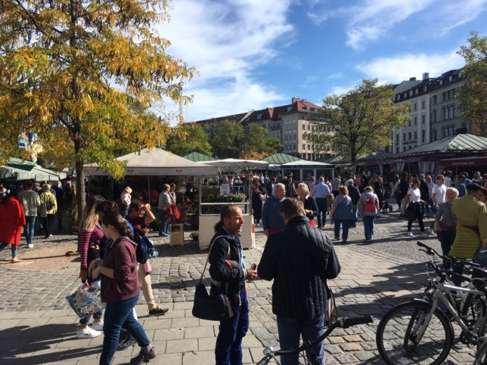 Munich's car-free Viktualienmarkt. (Mike Eliason)