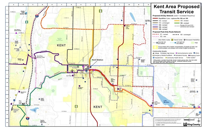 Proposed Kent bus route restructure. (King County)