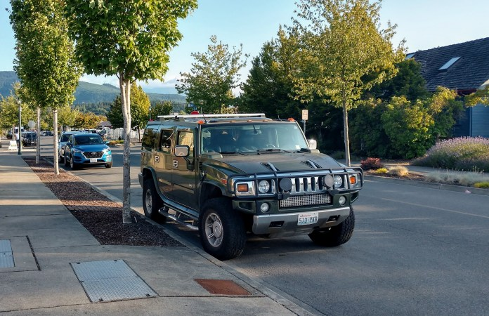 Hummer with bull bars on the hood is at just about the heaviest end of the SUV spectrum. We're at the borderline light military vehicle level here. (Photo by author)