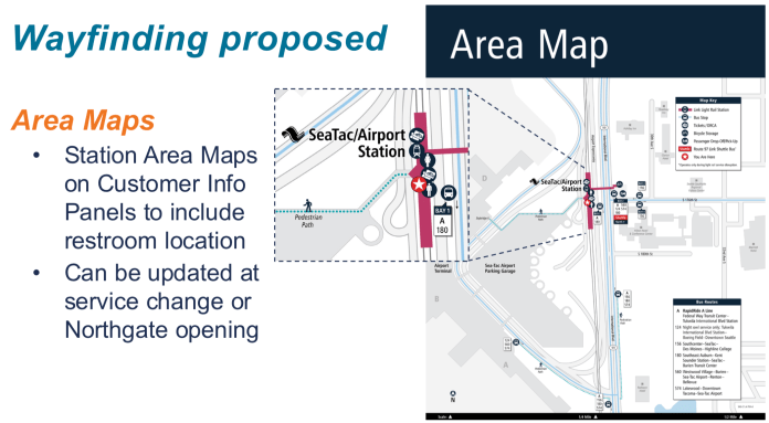 Concept for area maps with restroom locations identified. (Sound Transit)