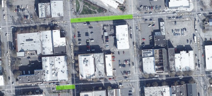 Green highlights transit improvement locations. (City of Olympia)