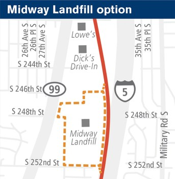 General map of the potential site at Midway Landfill. (Sound Transit)