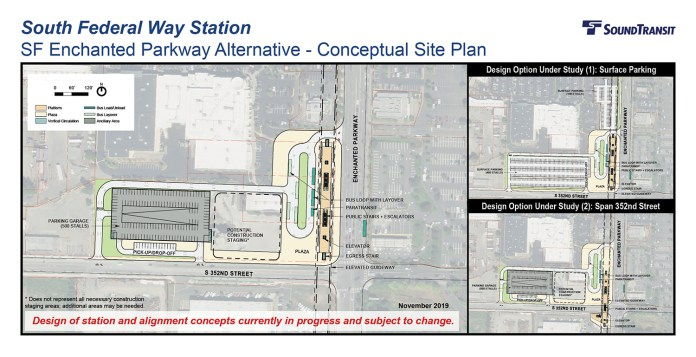 The conceptual station layout options for the South Federal Way Station on Enchanted Parkway. (Sound Transit)