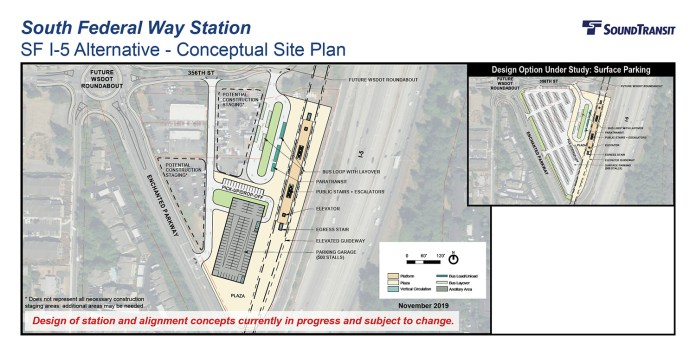 The conceptual station layout options for the South Federal Way Station at I-5. (Sound Transit)
