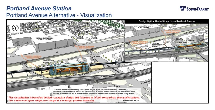 Renderings of the conceptual station layout options for the Portland Avenue Station. (Sound Transit)