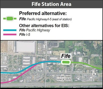 The conceptual alignment and station location for the Fife Station. (Sound Transit)