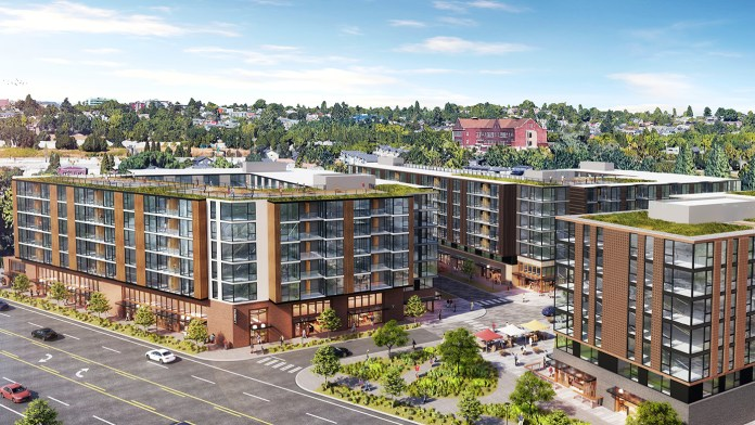 Grand Street Commons--a three building complex--is two blocks south of Judkins Park Station and was hoping to open in 2021, a couple years ahead of light rail. (Credit: Runberg Architecture)