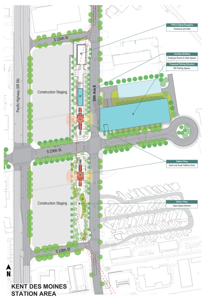 Current site plan for the Kent/Des Moines station. (Sound Transit)