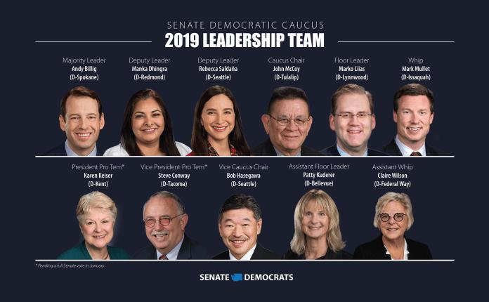 Will the leadership lead? Pictured: Senate Majority Leader Andy Billig (D-Spokane), Deputy Leader Manka Dhingra (D-Remond), Deputy Leader Rebecca Saldaña (D-Seattle), Caucus Chair John McCoy (D-Tulalip), Floor Leader Marko Liias (D-Lynnwood), Whip Mark Mullet (D-Issaquah), President Pro Temp Karen Keiser (D-Kent), Vice President Pro Tem Steve Conway (D-Tacoma), Vice Caucus Chair Bob Hasegawa (D-Seattle), Assistant Floor Leader Patty Kuderer (D-Bellevue), Assistant Whip Claire Wilson (D-Federal Way). Positions are pending a full caucus vote in January.  (Senate Democrats)