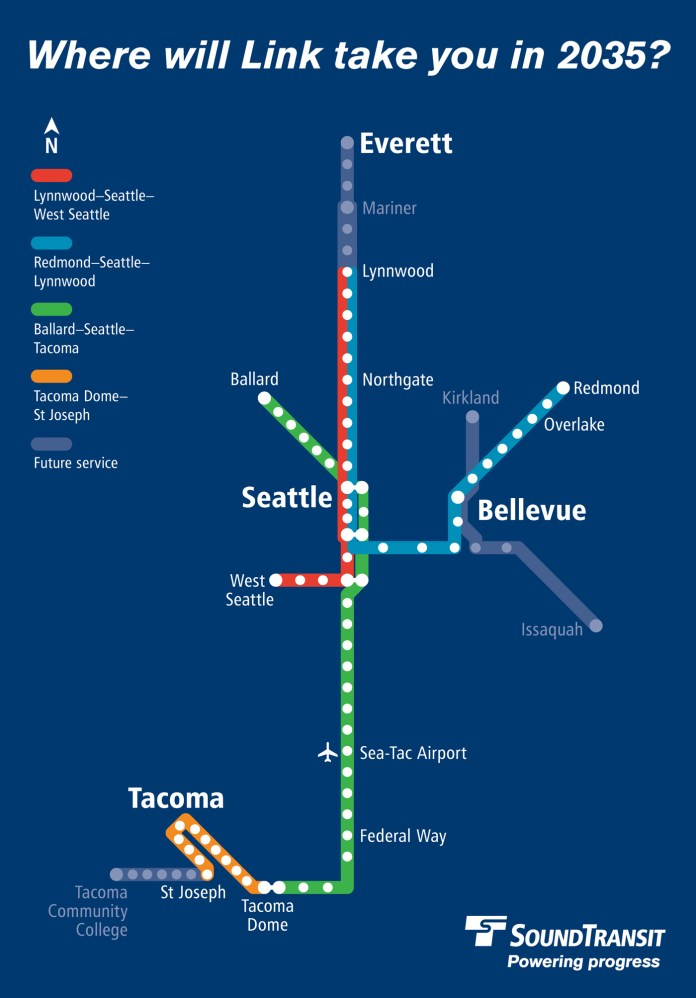 A diagram highlighting existing and future light rail lines by color that would operate in 2035. (Sound Transit)